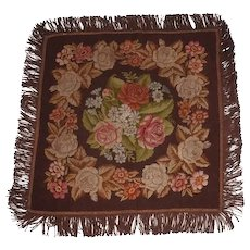 Antique Needlepoint Tablecloth or Table Cover Fringed Rose Flower Pattern - 46""