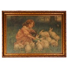 Antique Pears Soap - Chromolithograph - Print Girl Feeding Rabbits - 1904