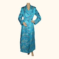 Vintage 1970s Dressing Gown NOS Blue Satin Brocade Asian Motifs Lounging Robe M