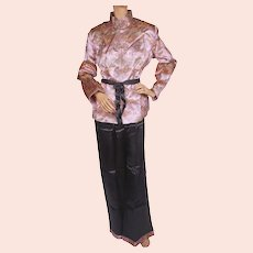Vintage 1940s Hostess Pyjamas NOS Asian Pattern Lounging Pajamas Size L 42