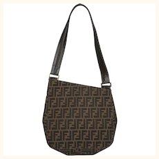 Vintage 1980s Fendi Zucca Monogram Shoulder Bag Purse Slant Top Authentic