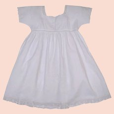 1920s White Cotton Embroidered Baby Dress  -  Doll  Dress  - Made in France