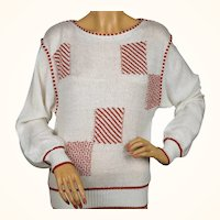 1980s Guy Laroche Sweater - Red and White
