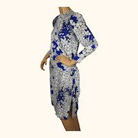 Vintage 1980s Guy Laroche Silk Dress - Blue and White Floral Print - Size 36