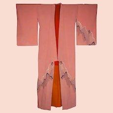 Japanese Kimono Taisho Period Modernity Pink Silk Crepe 1920s