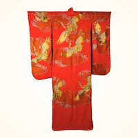 Japanese Wedding Kimono Iro Uchikake Red Silk with Gold Cranes