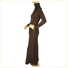 Vintage 1970s Brown Knit Dress Long Form Fitting Size Small