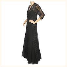 Vintage 1930s Evening Gown Black Silk Chiffon & Lace Dress Size L