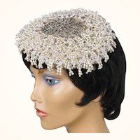 Vintage 1950s Cocktail Hat Beaded with Pearls & Rhinestones Alfreda Paris New York