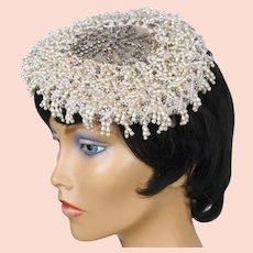 Vintage 1950s Cocktail Hat Beaded with Pearls & Rhinestones Alfreda Paris New York