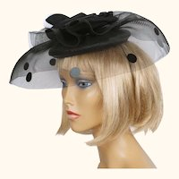 Vintage 1980s Cocktail Hat Black Straw w Horsehair Net Brim & Polka Dot Sequins