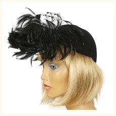 Vintage 1940s Cocktail Hat Black Felt Fascinator