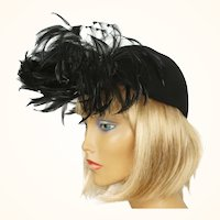 Vintage 1940s Cocktail Hat Black Felt Fascinator