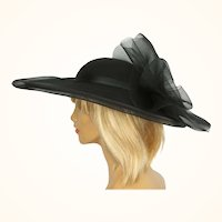Vintage 1980s Sonni of San Francisco Hat Black Wool & Net Wide Brim Size M