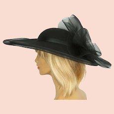 Vintage 1980s Sonni of San Francisco Hat Black Wool & Net Wide Brim Size M