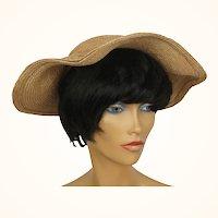 Vintage 1950s Straw Hat Irregular Brim Anny Gardens Montreal Size M