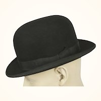 Vintage Mens English Bowler by Lyons London Black Derby The King Hat Size 7