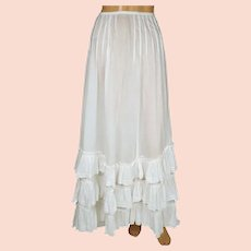 Antique Edwardian White Cotton Skirt 1910 Size XS 23 Inch Waist