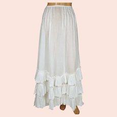 Antique Edwardian White Cotton Skirt 1910 Size XS 23 Inch Waist