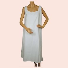 Antique White Cotton Nightie Embroidered Nightgown 1910s Size Large
