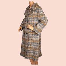 Vintage 1963 Tweed Wool Coat by Leeds Ladies Size M