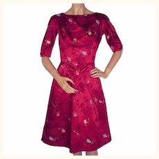 "Vintage 1960s Dress Magenta Red Silk Asian Fans Title Original Size S 23"" Waist"