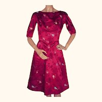 "Vintage 1960s Dress Magenta Red Silk Asian Fans Title Original Size S 23"" Waist"