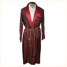 Vintage Mens Dressing Gown Two Tone Woven Satin Robe with Hearts Egypt Size M