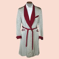 Vintage 1940s Mens Dressing Gown Shiny Silver Grey w Burgundy Trim Size M L
