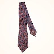 Vintage 1920s Tie Authentic 20s Paisley Pattern Necktie Blue Cherry Red White