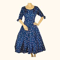 1950s Dark Blue Silk Taffeta Party Dress with Floral Print - Small