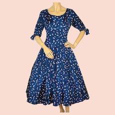 1950s Dark Blue Silk Taffeta Party Dress with Floral Print - Small