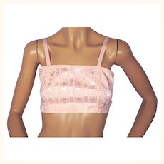 1920s Bandeau Bra - Pink Woven Cotton - Small