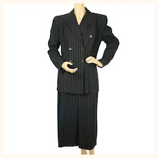 1940s Pinstriped Wool Suit - Skirt and Jacket - Judith Clark - Posluns - Large