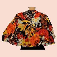 Vintage 1930s Art Deco Cut Velvet Devore Jacket Capelet Ladies Medium