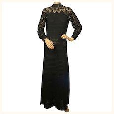 Vintage 1970s Black Crochet Knit Long Dress Size M