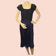 Vintage 1960s Hand Crochet Knit Black Dress Size M
