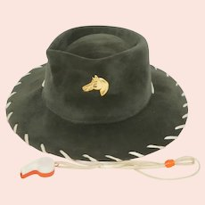 Vintage 1950s Childs Cowboy Western Hat Green Grey Velour Felt with Whistle