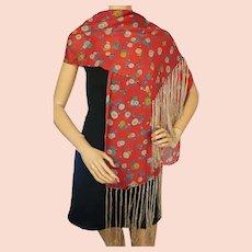 Vintage 1920s Art Deco Silk Scarf Fringed Shawl