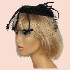 Vintage 19, 0s Black Velvet and Tulle Whimsy Hat
