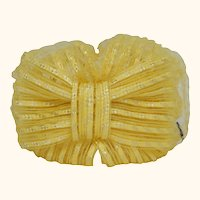 Vintage 1960s Yellow Straw Ribbon Bandeau Hat with Tulle Veil - Unused