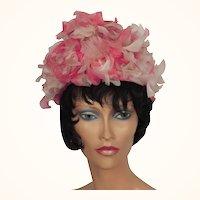 Vintage 1950s Flower Petal Pink Bucket Hat