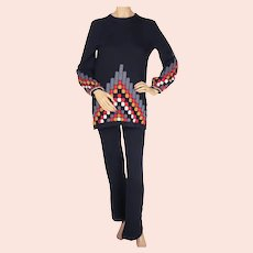 Vintage 1960s Scottish Cashmere Sweater Pantsuit by Ballantyne Scotland Size S M