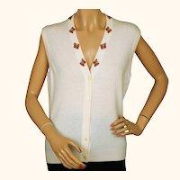 Vintage 1970s Unused Scottish Cashmere Sweater Vest Sleeveless Cardigan NWT M 36
