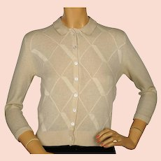 Vintage 1960s Ballantyne Scottish Cashmere Intarsia Sweater Beige Size M 36