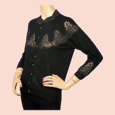 Vintage 1950s Ballantyne Scottish Cashmere Sweater Beaded Lace Insetting Size M