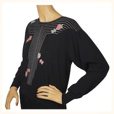 Vintage Ballantyne Scottish Cashmere Pullover Sweater Linear Pattern w Flowers L