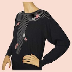 Vintage Ballantyne Scottish Cashmere Pullover Sweater Linear Pattern w Flowers L