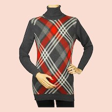 Vintage 1970s Ballantyne Scottish Cashmere Sweater Argyle Pullover Turtleneck M
