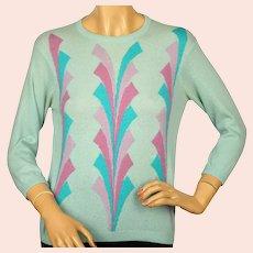 Vintage 1960s Ballantyne Scottish Cashmere Sweater Pullover Mint Green Ladies M